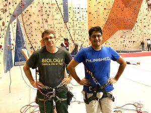 A new tradition!? To complete your PhD n the Hammer lab you need to ascend a route with Brian and the Stone Summit climbing gym! Nice job Samit!