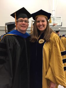 "Dr. Bernardy at the official ""hooding ceremony"" before commencement!"